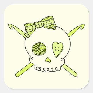Skull & Crochet Hooks (Yellow Background) Square Sticker