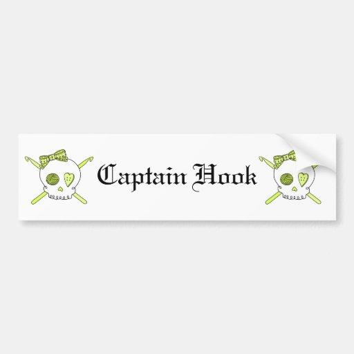 Skull & Crochet Hooks (Yellow) Bumper Sticker