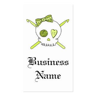 Skull & Crochet Hooks (Yellow) Business Card Template