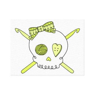 Skull Crochet Hooks Yellow Canvas Prints