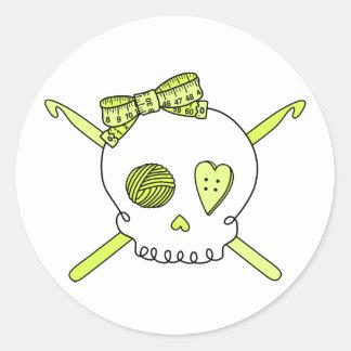 Skull & Crochet Hooks (Yellow) Classic Round Sticker