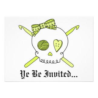 Skull & Crochet Hooks (Yellow) Personalized Announcements