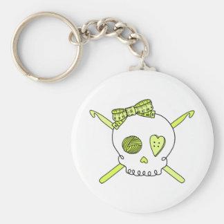 Skull & Crochet Hooks (Yellow) Keychain