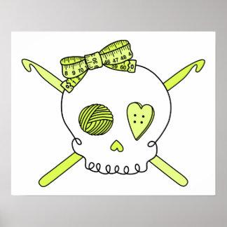 Skull Crochet Hooks Yellow Posters