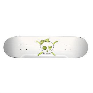 Skull & Crochet Hooks (Yellow) Skateboard Deck