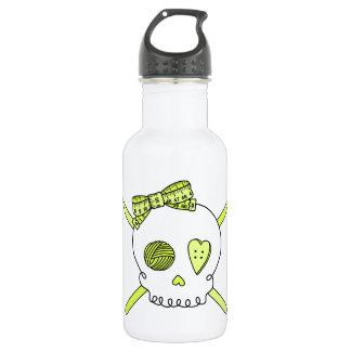 Skull & Crochet Hooks (Yellow) Stainless Steel Water Bottle