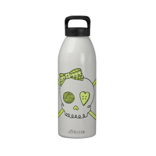 Skull & Crochet Hooks (Yellow) Reusable Water Bottles