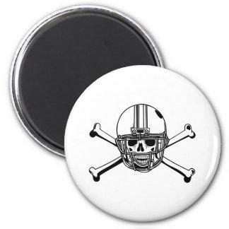 Skull & Cross Bones Football Player 2 Inch Round Magnet