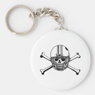 Skull & Cross Bones Football Player Basic Round Button Keychain