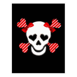 Skull & Cross Bones in Red and White with Bows Postcard