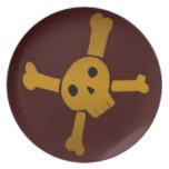 Skull Cross brown Dinner Plate