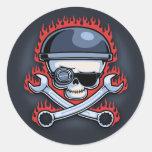 Skull & Cross Wrenches Classic Round Sticker