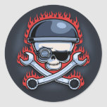 Skull & Cross Wrenches Round Stickers