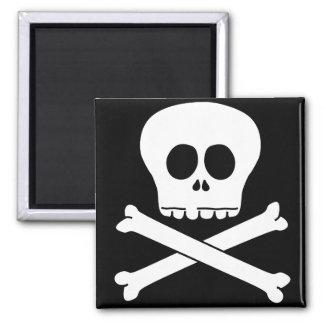 Skull & Crossbones 2 Inch Square Magnet