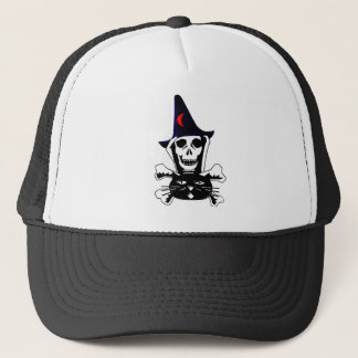 Skull, Crossbones, and Cat Trucker Hat
