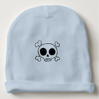 skull & crossbones blue baby boy hat