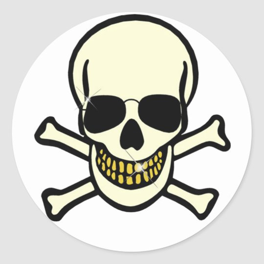 Skull & Crossbones Classic Round Sticker