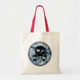 Skull & Crossbones Distressed Silhouette Cameo Tote Bag