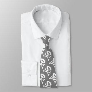 Skull Crossbones Grey and White Tie