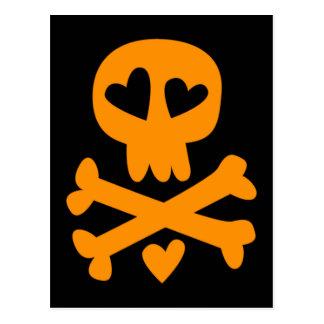 Skull crossbones Halloween Postcard