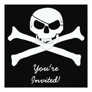 """Skull & Crossbones - Jolly Roger 5.25"""" Square Invitation Card"""