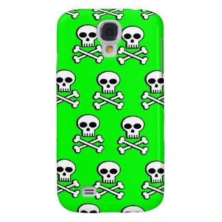 Skull & Crossbones on Neon Green iPhone 3 Case