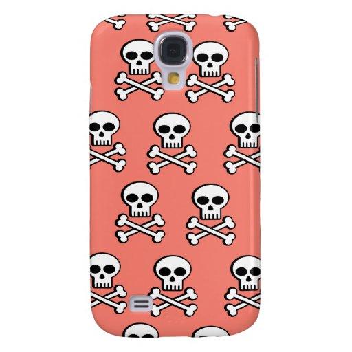 Skull & Crossbones on Salmon iPhone 3 Case
