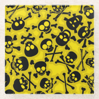 Skull & Crossbones Pattern Glass Coaster