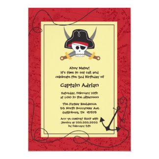 Skull crossbones pirate birthday party invitation