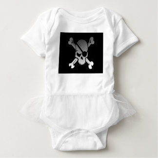 Skull Crossbones Pirate Flag Fade Eye Patch Baby Bodysuit