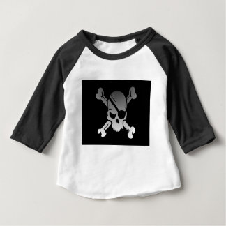 Skull Crossbones Pirate Flag Fade Eye Patch Baby T-Shirt