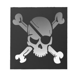 Skull Crossbones Pirate Flag Fade Eye Patch Notepad