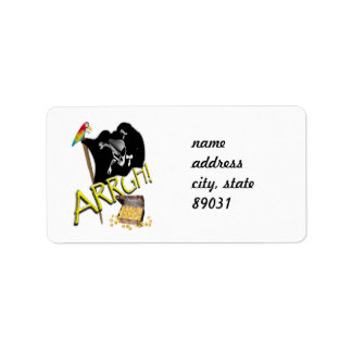 Skull & Crossbones Pirate Flag & Treasure Label