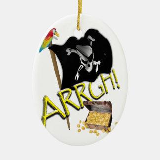 Skull & Crossbones Pirate Flag & Treasure Double-Sided Oval Ceramic Christmas Ornament