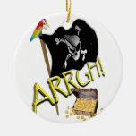 Skull & Crossbones Pirate Flag & Treasure Christmas Ornament