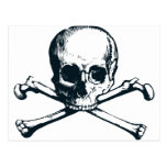 skull crossbones postcard