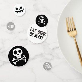 Skull & Crossbones Spooky Halloween Confetti