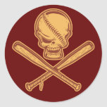 Skull & Crossed Bats 513 Classic Round Sticker
