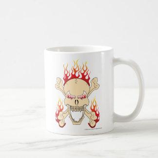 Skull, crossed bones and flames mug