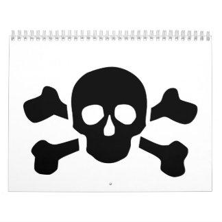 Skull crossed bones calendar