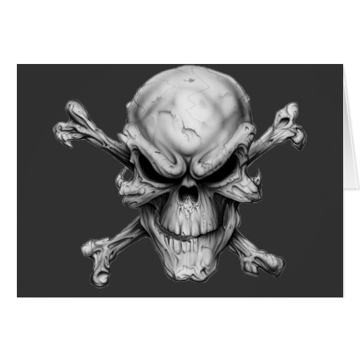 Skull Crossed Bones Card