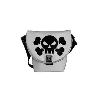 Skull crossed bones courier bag
