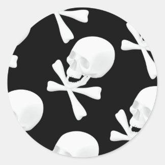 Skull & Crossed Bones Design Classic Round Sticker