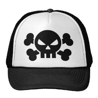 Skull crossed bones mesh hat
