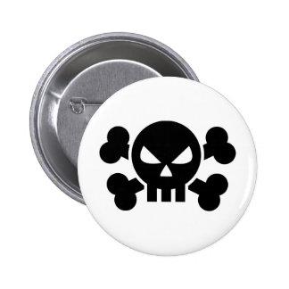 Skull crossed bones pinback button