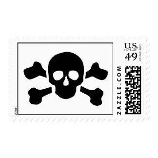 Skull crossed bones postage stamp