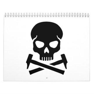 Skull crossed hammer calendar
