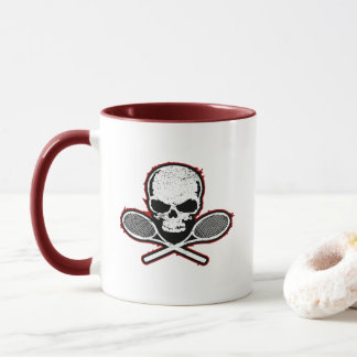 Skull & Crossed Racquets Tennis Mug