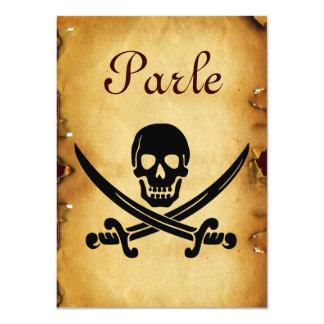 SKULL CROSSED SWORDS  MONOGRAM wax seal parchment Card