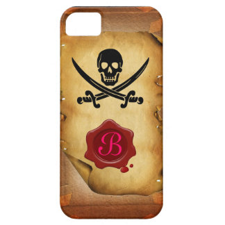SKULL CROSSED SWORDS  MONOGRAM wax seal parchment iPhone 5 Covers